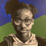 Painting titled Girl With Green and Blue Lansing Refuge by Ashlyn Kephart