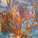 Calah H. - The Trees Can See, water color paint, sharpie, collage, white gel pen