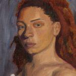 Hypatia M. - Orange and Blue, Oil on Canvas Paper