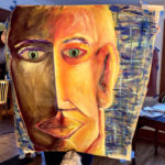 Noa K. -  Big Face, Acrylic Paint, Wax, Chalk, Oil Pastel