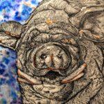 *Rio T. - Bronze Boar, Micron Pen, Watercolor, and Bronze Foil