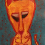 Madeleine L. Gr. 3 - The Begging Cat, Pencil, Glue, Chalk