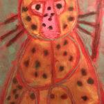 Noah R. Gr. 2 - Big Spotted Cat Pencil, Glue, Chalk, Charcoal, Marker