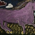 Ren M. Gr. 7 -  Purple Unicorn, Oil Pastel