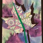 Rebekah H. Gr. 4 - Cool Colored Leaf, Watercolor, Marker, Color Pencil