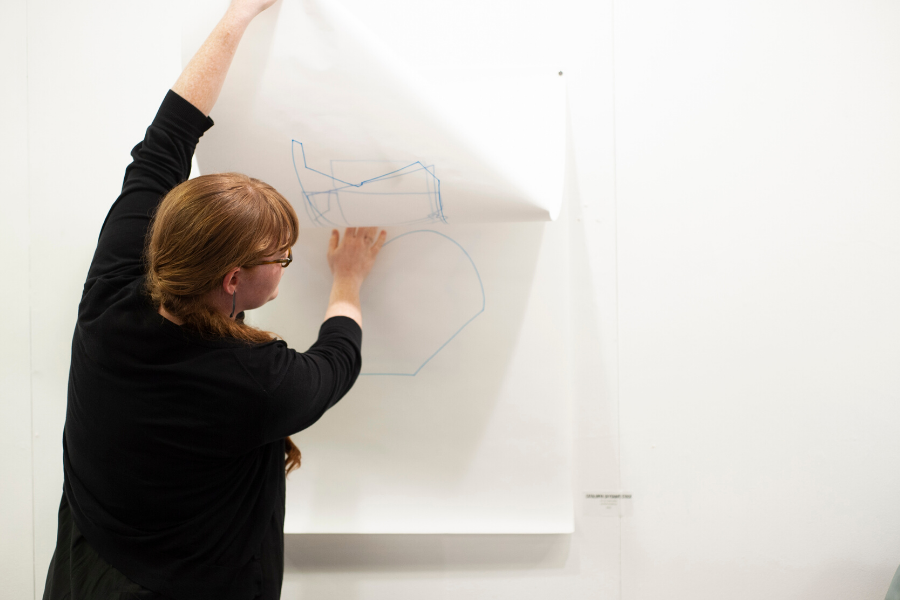 Ruth demonstrates the activation of her work.