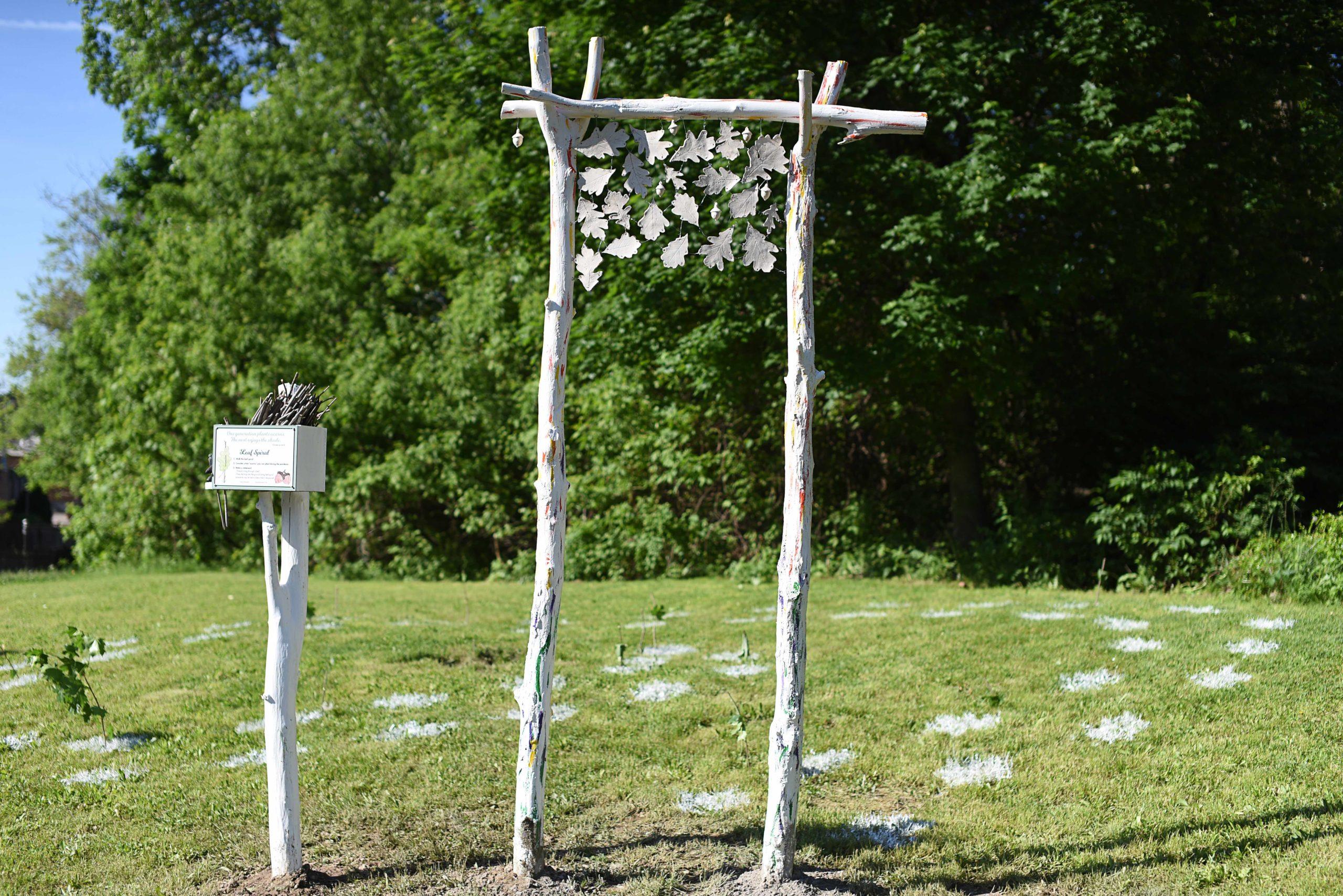 Metal Sculpture by Craig Hinshaw titled Leaf Gate