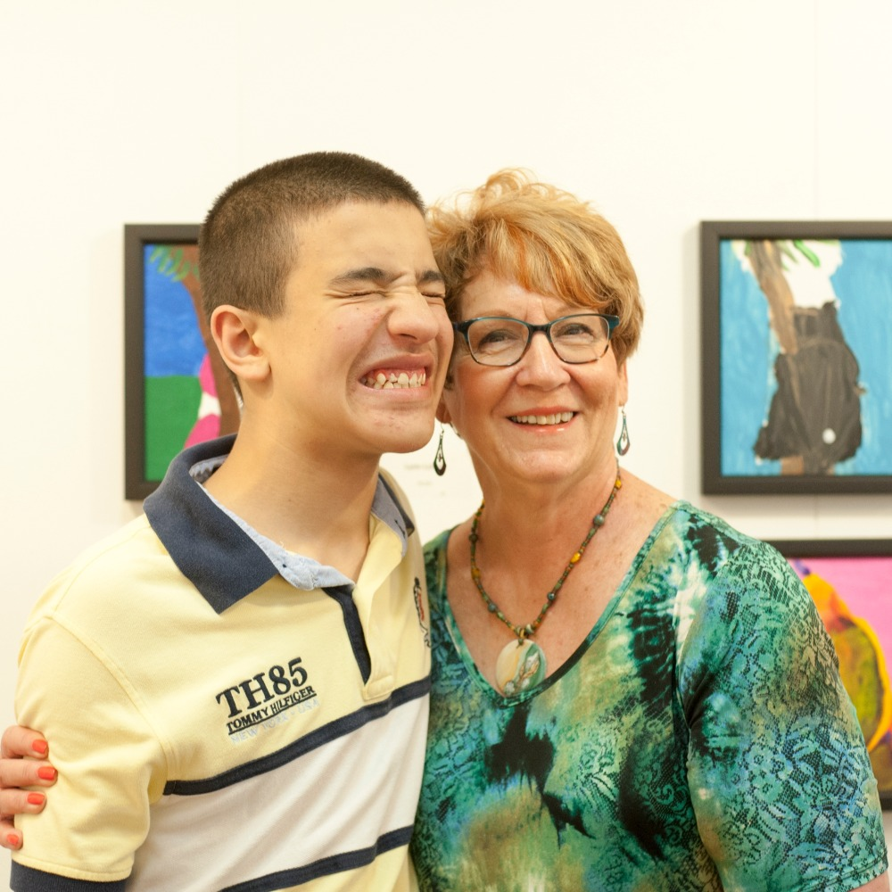 Dominic B. pictured with Teaching Artist Catherine Tonning-Popowich