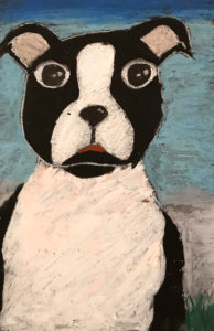 Painting of a Black and White Dog by Ella C.