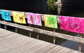 05-Friends-of-Pollination- A series of colorful dyed fabric panels hung along a boardwalk handrail along the riverfront.